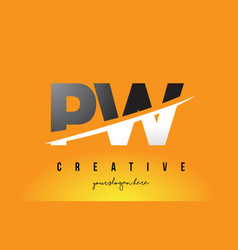 Pw p w letter modern logo design with yellow vector