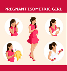 qualitative isometry a set of 3d pregnant women vector image