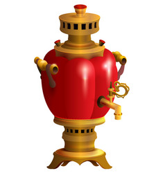 Red samovar traditional russian kitchenware vector