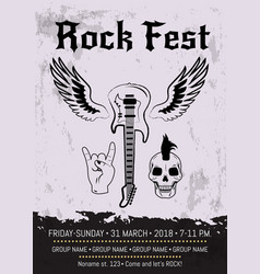 rock fest event advertising poster design vector image