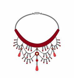 Ruby necklace vector