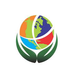 save world logo icon globe concept vector image