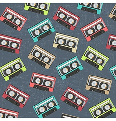 Seamless background with vintage analogue music vector