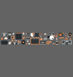seamless pattern music instruments and equipment vector image