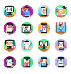 Set of digital advertisement flat round icons vector