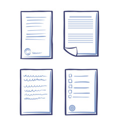set of office papers isolated icon signed contract vector image