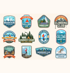 Set sailing camp canoe and kayak club patches vector