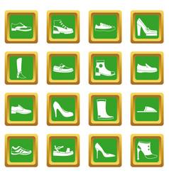 Shoe icons set green vector