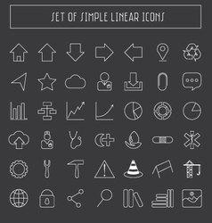 simple flat linear icons vector image