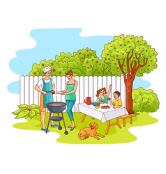 sketch family at barbeque party at garden vector image