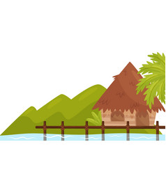 small bungalow on shore of ocean tropical island vector image