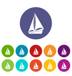 Small yacht set icons vector
