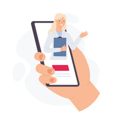 smartphone with online doctor hand hold phone vector image