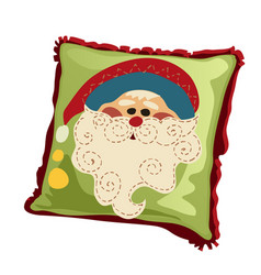soft holiday pillow with the face of santa claus vector image