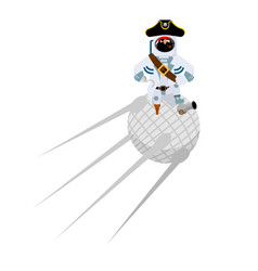 space pirate on satellite filibuster spaceman vector image
