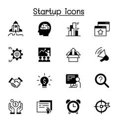 startup icon set graphic design vector image
