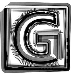 Striped Font Letter G vector