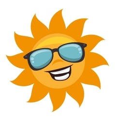 Sun with sunglass character vector