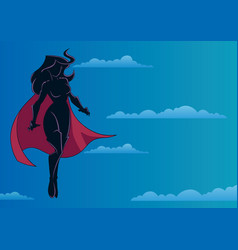 superheroine flying in sky silhouette vector image
