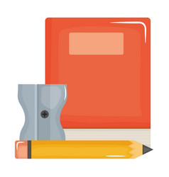 Text book school supply with pencil and sharpener vector