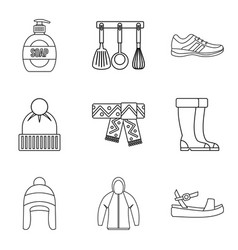 Trade fair icons set outline style vector