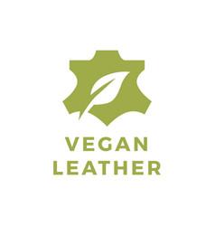 vegan leather leaf natural logo icon vector image