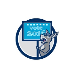 Vote 2016 Democrat Donkey Mascot Circle Cartoon vector image