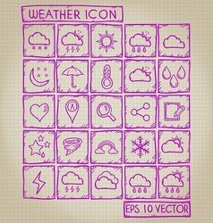 Weather Icon Doodle Set vector
