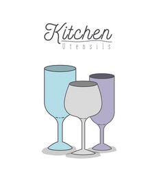 white background with colorful set glass cups vector image
