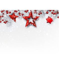 White christmas and new year background with fir vector