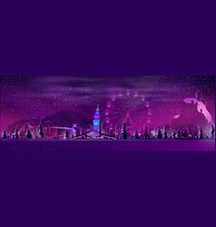 winter resort town at night cartoon vector image