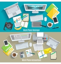 Work Place Banner Set vector image vector image