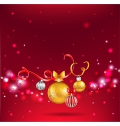 Christmas balls on red background vector image