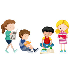 Four kids reading books vector