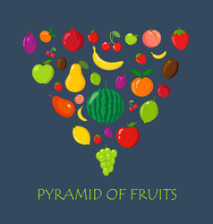 fruits random piramyda on blue flat and cartoon vector image vector image
