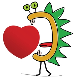 heart with creature vector image vector image