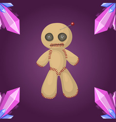 voodoo doll flat icon punishment sign spirituality vector image