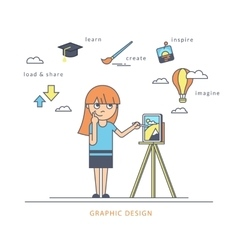 Young redhair girl using a tablet pc and drawing vector image vector image