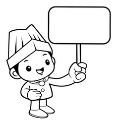 black and white funny cook mascot is holding a vector image