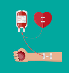 blood bag heart and hand of donor vector image vector image