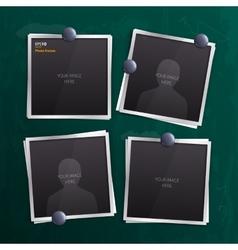 Set of empty photo frames on chalkboard vector