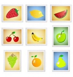 stamp fruit series vector image vector image