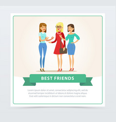 three happy female friends talking best friends vector image