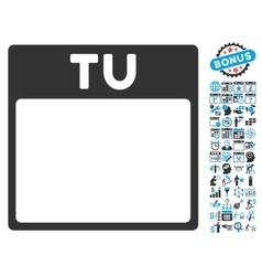 Tuesday Calendar Page Flat Icon With Bonus vector image vector image