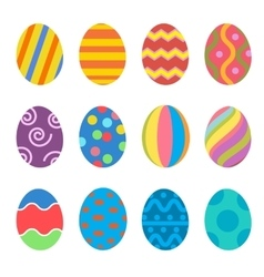 Easter eggs icons flat style vector image vector image