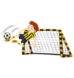 Goalkeeper at the goal vector