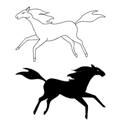 Horse sketch and silhouette vector image
