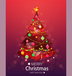 merry christmas and happy new year red background vector image vector image