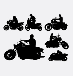 People riding motorbike silhouettes vector image vector image