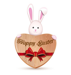 wooden heart and easter bunny happy easter vector image vector image
